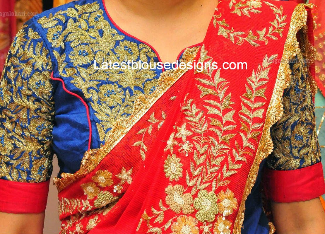 raw silk zari work blouse