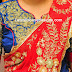 High Neck Embroidered Raw Silk Blouse