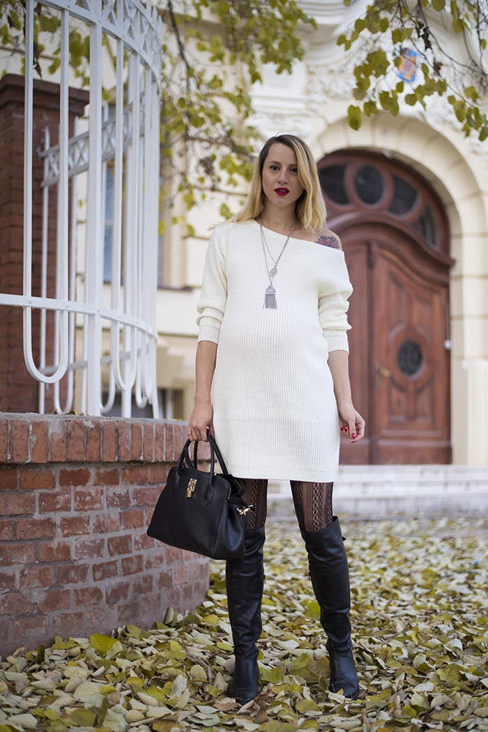 Skinny Buddha white sweater dress