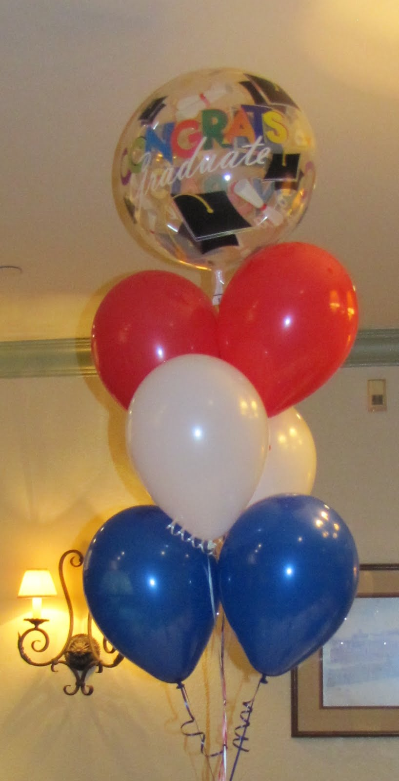 Party people event decorating company graduation party for Balloon cluster decoration