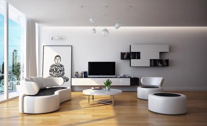 Hogares frescos salas de estar cl sicamente frescas for Sala de estar blanco y negro
