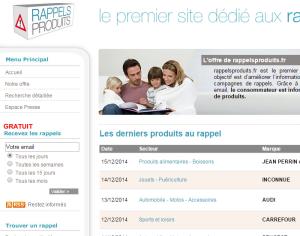 capture d'écran site Web rappelsproduits.fr
