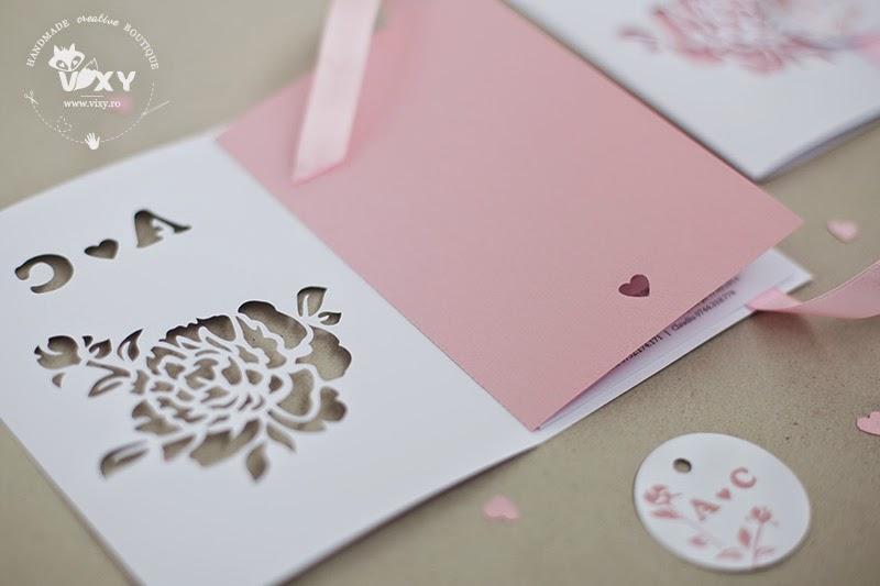 invitatie nunta personalizata, invitatie nunta, invitatii deosebite, invitatii handmade, invitatii nunta handmade, vixy.ro, invitatii speciale, invitatie bujor, invitatie roz