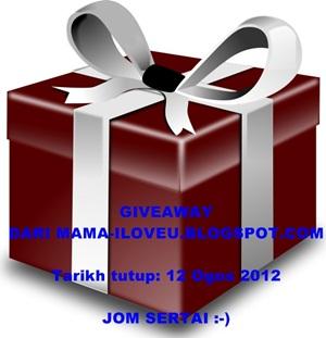 Giveaway dari MAMA-ILOVEU.BLOGSPOT.COM