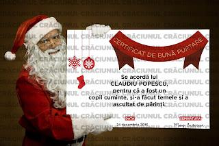MODEL Certificat de bună purtare, semnat de Moş Crăciun