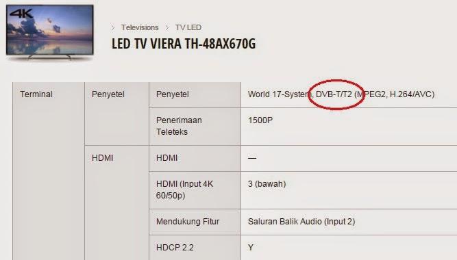 TV digital Panasonic yang menggunakan tuner DBV-T2