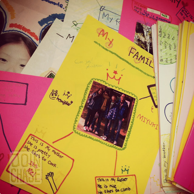 A pile of family webs made by Korean students for a special English class project in South Korea.