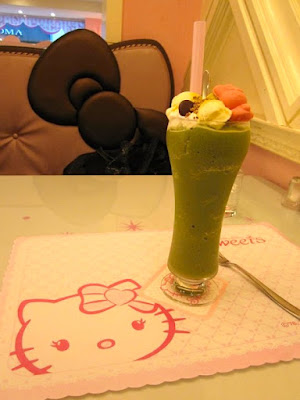 Green Tea Ice Blended at Hello Kitty Sweets Zhongxiao Fuxing Taipei
