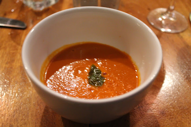 Cool tomato-basil soup at The Blue Room, Cambridge, Mass.
