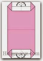 Bước 5: Gấp chéo bốn góc cạnh giấy vào trong.