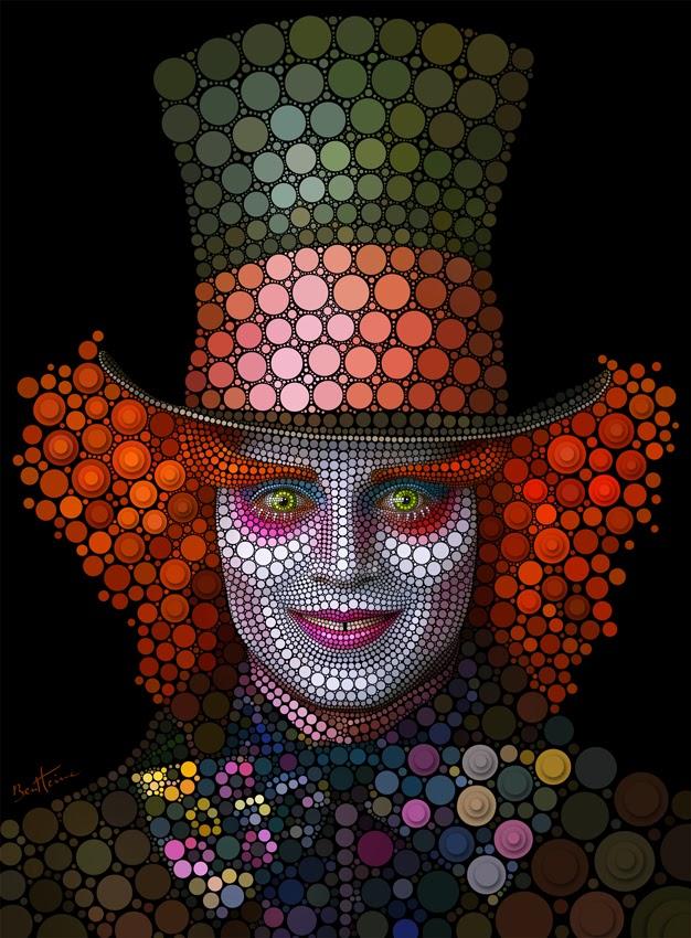 07-Mad-Hatter-Johnny-Depp-Ben-Heine-Painting-&-Sculpture-Digital-Circlism-Portraits-www-designstack-co