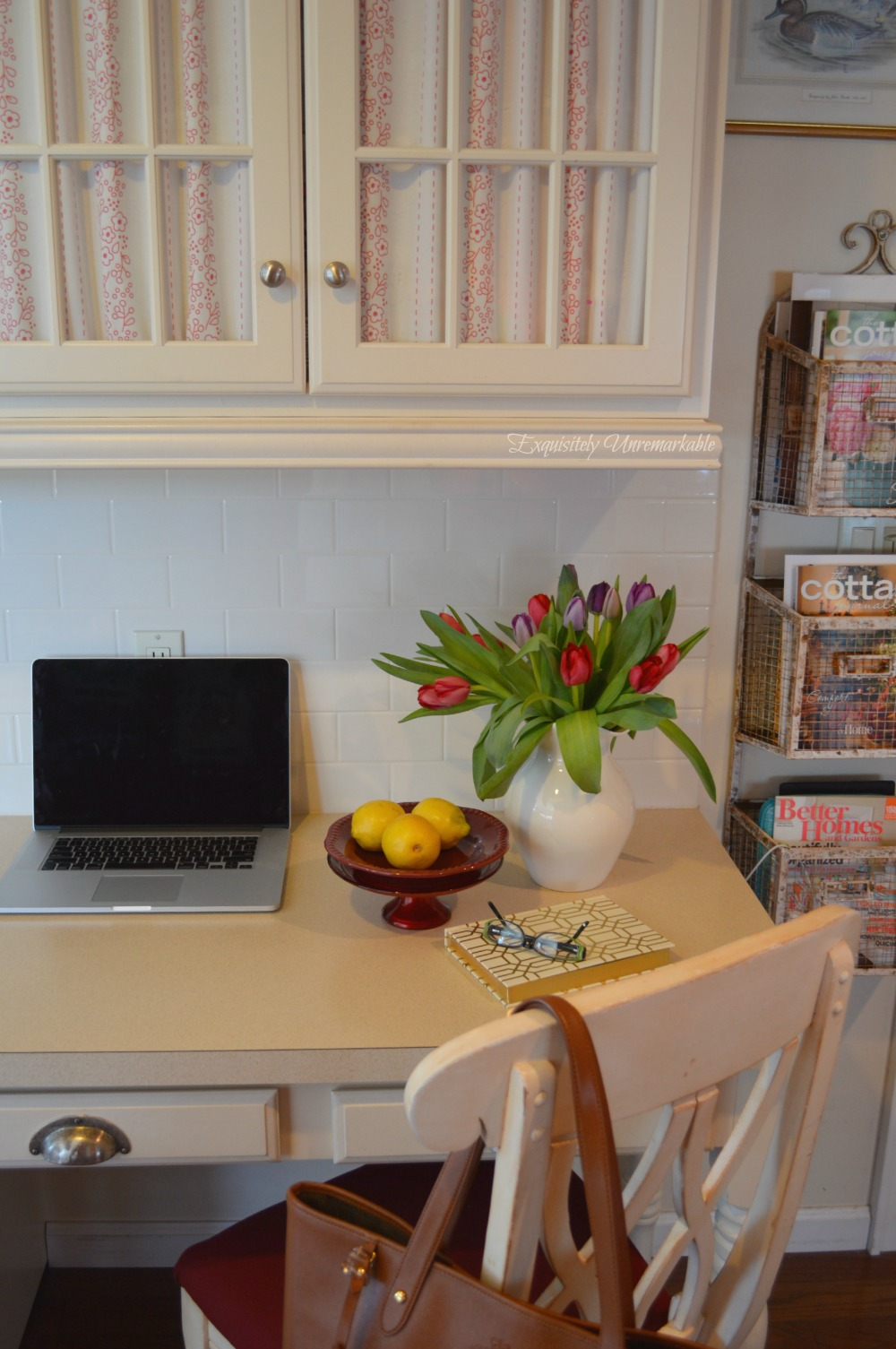 Kitchen Desk Area How To Cover Glass Cabinet Doors With Fabric Exquisitely Unremarkable