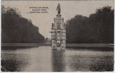 Vintage postcard of the Statue of Diana, Bushey Park, Hampton Court