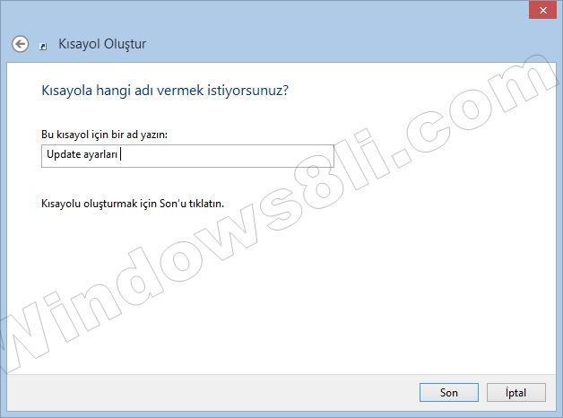 Windows update kısayol