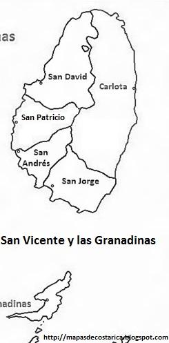 Mapa en blanco y negro, politico de San Vicente y las Granadinas