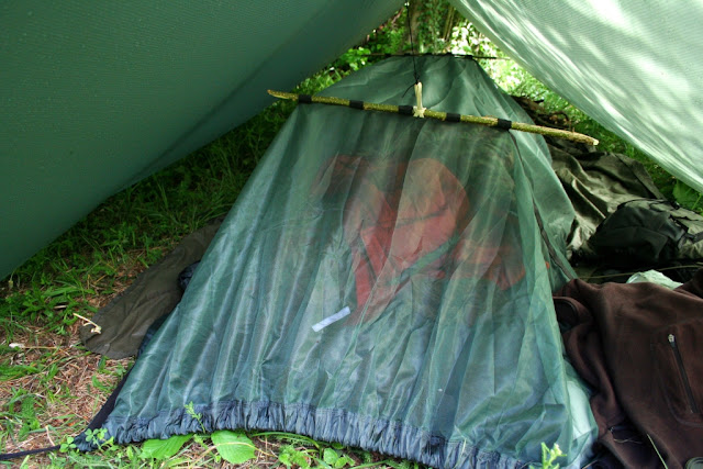 under the tarp, the hammock on the ground with the mosquito net up