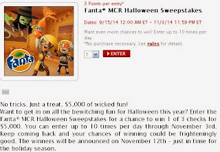Enter Fanta Halloween Sweepstakes at MyCokeRewards with 3 points per entry
