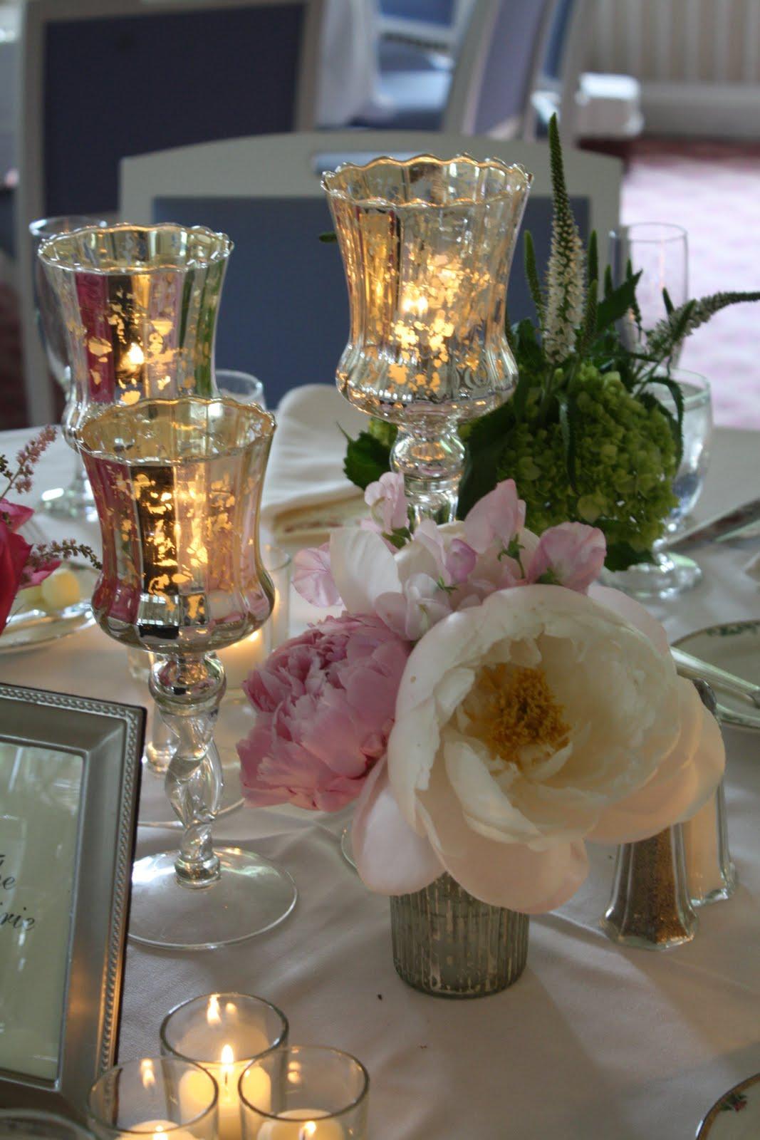 Mercury Glass Hurricane Centerpiece : Splendid stems floral designs wedding flowers