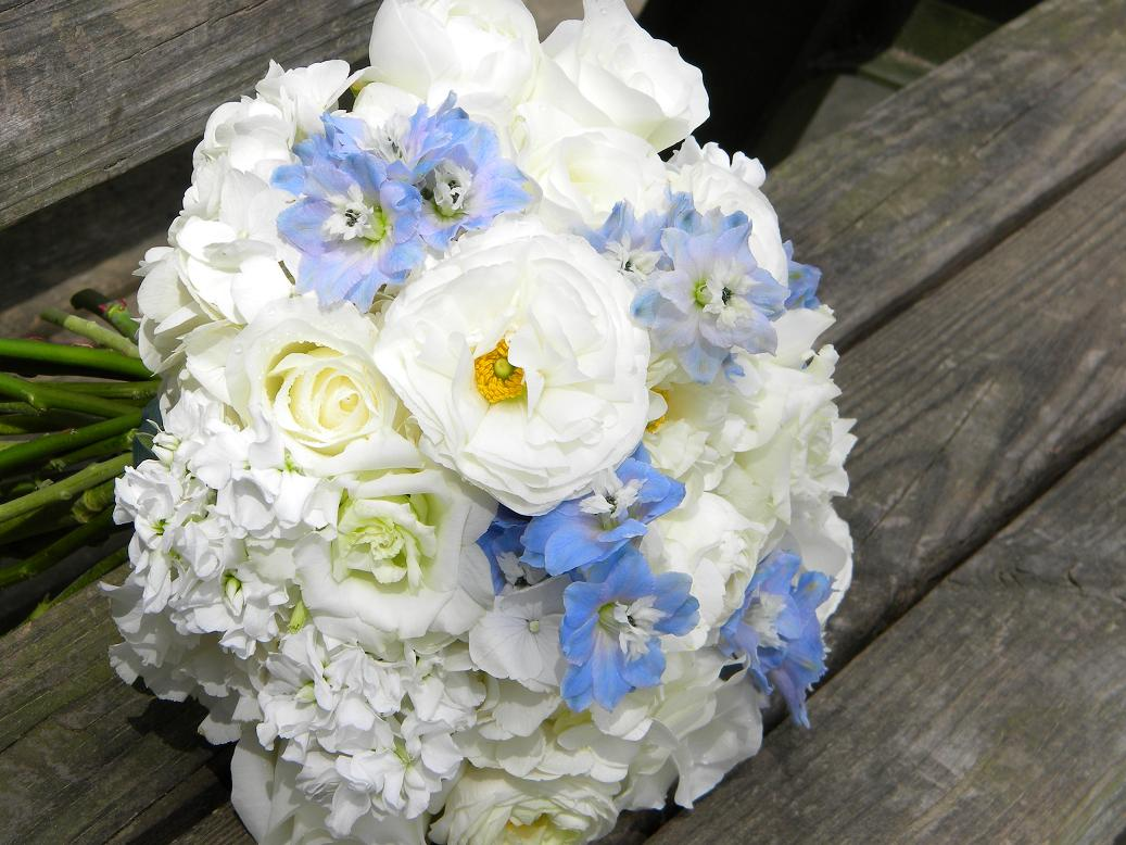 Wedding flowers from springwell springtime wedding for White and blue flower bouquet