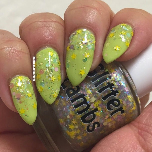 "Glitter Lambs ""Golden Honey Foundation""  Fashion Makeover Collection Glitter Topper Nail Polish"