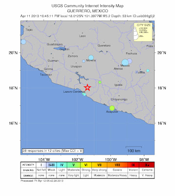 Epicenttro sismo 5,2 grados en México, el 11 de Abril de 2013