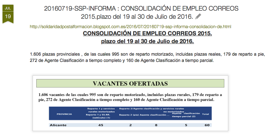 20160719-SSP-INFORMA : CONSOLIDACIÓN DE EMPLEO CORREOS 2015.EXAMEN EL 27/11/2016-Universidad ALC