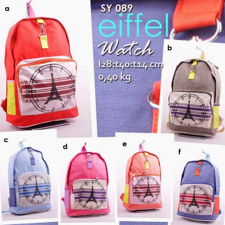 jual online tas ransel kanvas murah bergambar untuk sekolah anak - eifflel watch sy 089