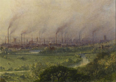 detail, Manchester from Kersal Moor, William Wyld (1852)