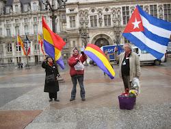 Homenaje republicano a la Nueve, frente a la Alcaldía de Paris, el 25 de marzo de 2015