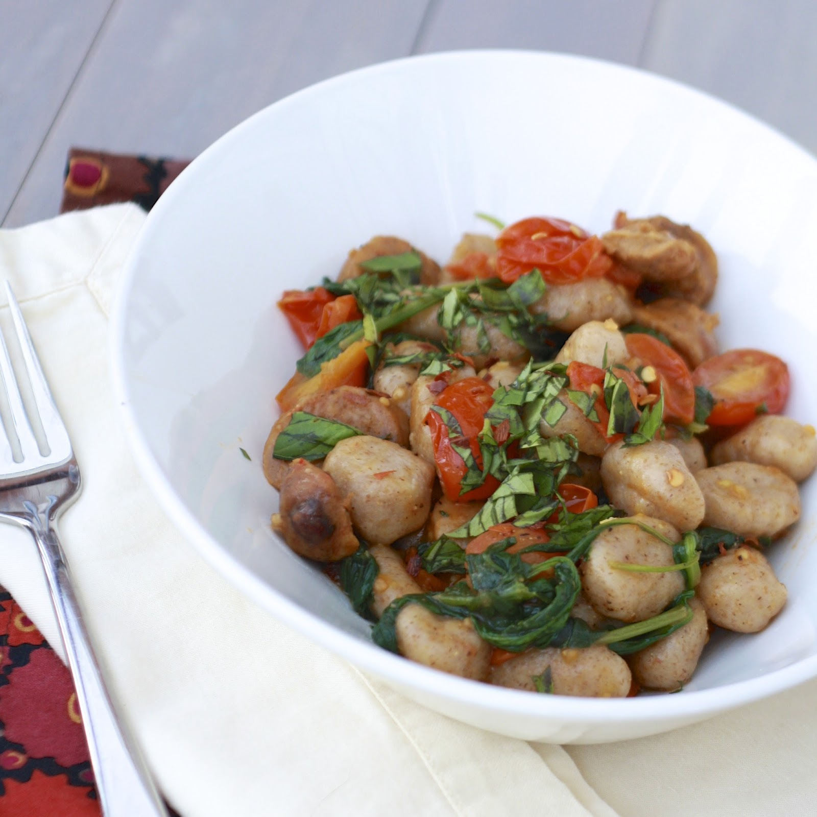Skillet Gnocchi with Sausage, Spinach, and Tomatoes | The Sweets Life