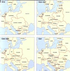 evolucion del mapa europeo en el siglo XX