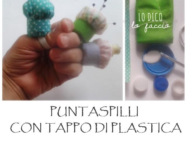 puntaspilli creativo con tappi di plastica