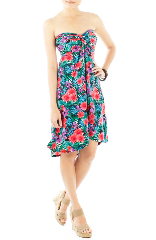 Coral florals Paradise Knot Dress with Dip Back Skirt