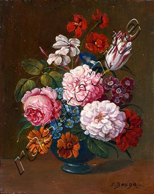 Conjunto de crisantemos, rosa, tulipan y varias flores en un florero de  ceramica negra vidriada