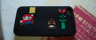 iphone coque DIY fil à broder mario bros