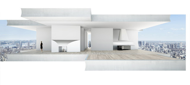 Illustration of one of the upper floors at 56 Leonard Street by Herzog & De Meuron without windows