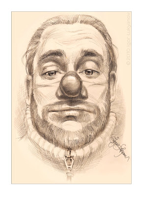 a funny self portrait of the artist drawn with a clown nose