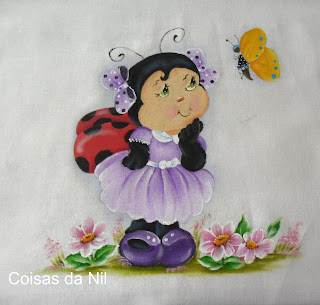 """pano de copa com pintura de joaninha e borboleta"""