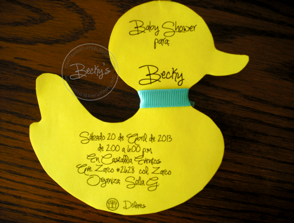 Hice Del Baño Color Amarillo:Beck's Crafts&Stuffs: Baby Shower de Patito de Agua o Duck Baby Shower