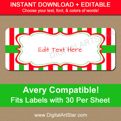 editable christmas addres labels digital download