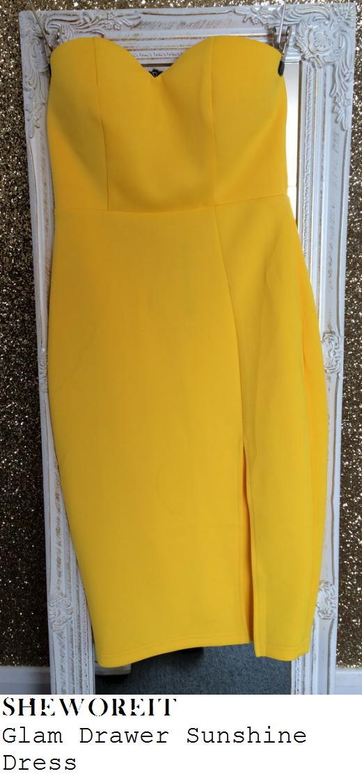 grace-andrews-bright-yellow-strapless-sweetheart-neckline-pencil-dress-towie