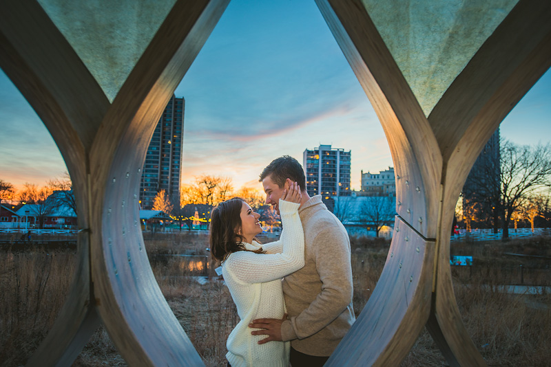 Chicago sunset engagement wedding photo