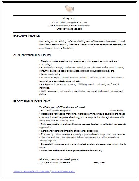 Marketing curriculum vitae template