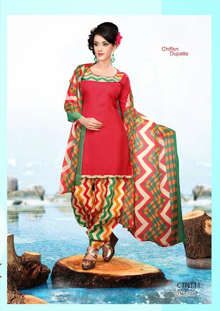 Indian Wear Patiala style Cotton Dress Matrial