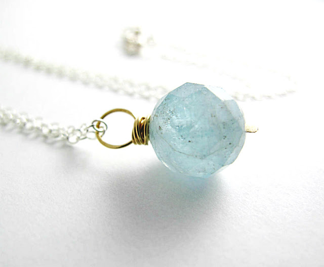 Beauty Aquamarine Birthstone Necklace by Beth Hemmila of Hint Jewelry