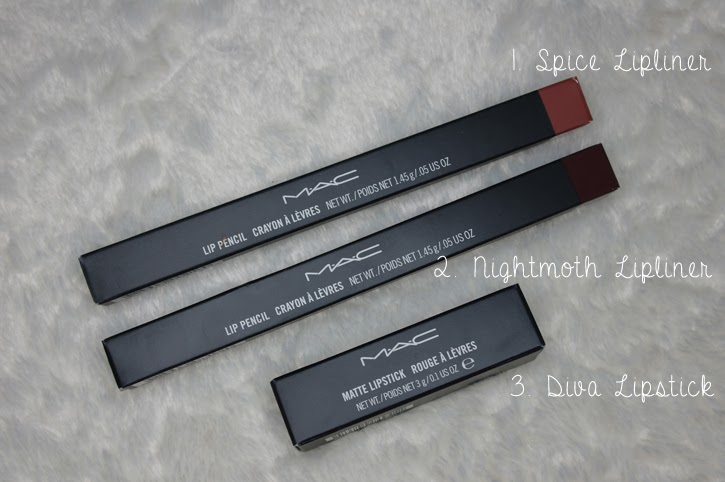 A picture of mac diva lipstick, mac spice lipliner and mac nightmoth lipliner