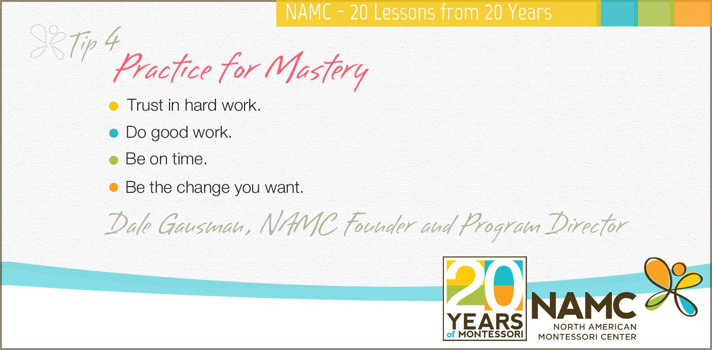 NAMC Montessori 20 tips 20 years practice for mastery