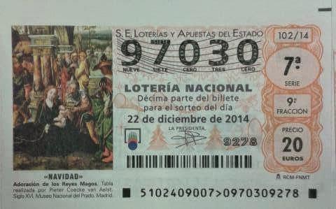 Número de loteria navidad 2014 Asociación Granada Lupus