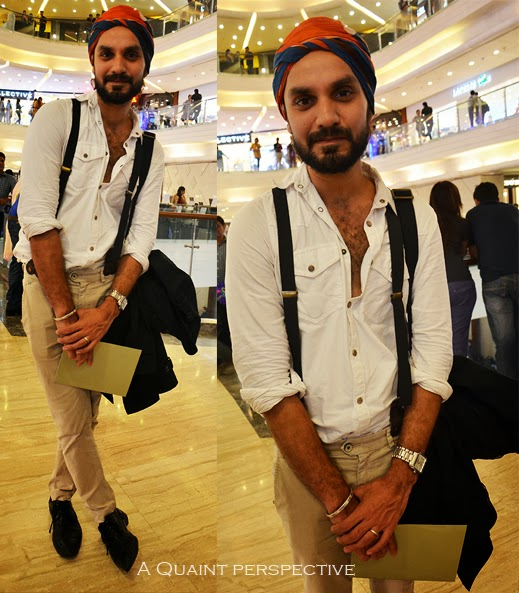 Jagvir uses his pair in black with a double clasp in leather, to spruce-up his otherwise casual monochrome white shirt-beige pair of chinos.