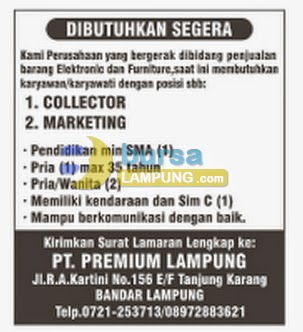 Lowongan Kerja PT Premium Lampung terbaru 6 Juli 2014 sumber berdasarkan iklan koran tribun lampung